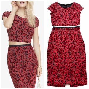 Express Animal Print Crop Top & Midi Red Skirt Set